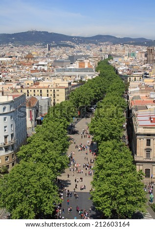 Aerial view of La Rambla, a central street in Barcelona - stock photo
