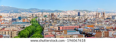 Aerial view of La Rambla and the skyline of Barcelona Panorama - stock photo