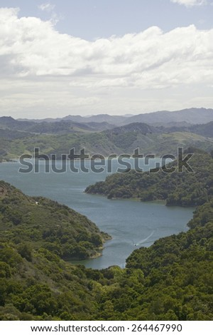 Aerial view of Lake Casitas and hills of Las Padres National Forest between Ojai and Santa Barbara, California - stock photo