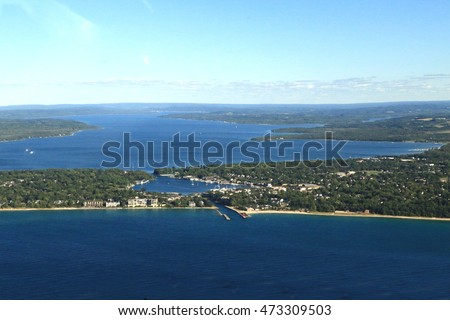 Aerial view of Lake Charlevoix, Michigan, a popular summer vacation destination.