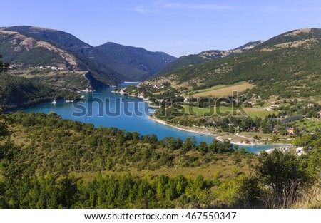 Aerial view of Lake Fiastra in the National Park of the Sibillini Mountains in Italy.