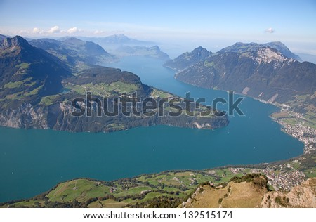 Aerial view of lake Luzern(Vierwalderstattersee) surrounded by montains - stock photo