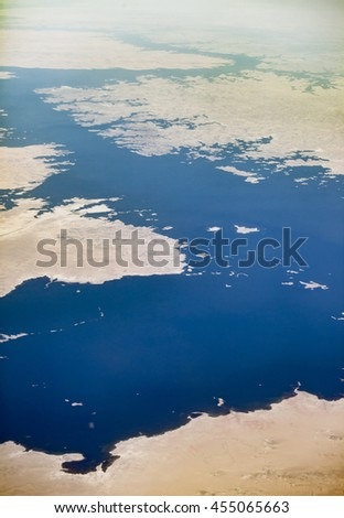 Aerial view of Lake Nasser in Egypt