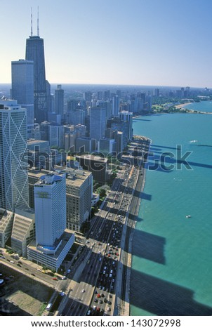 Aerial view of Lake Shore Drive, Chicago Illinois - stock photo