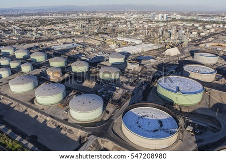 Aerial view of large fuel storage tanks in Southern California.