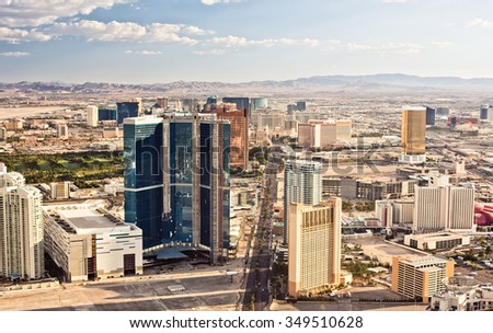 Aerial view of Las Vegas at evening - stock photo