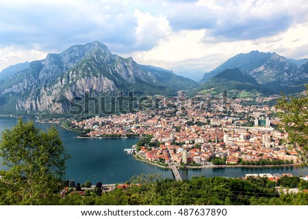 Aerial view of Lecco town on the lake Como, Italy