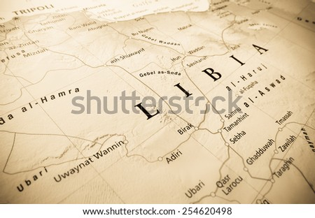 aerial view of Libya - stock photo