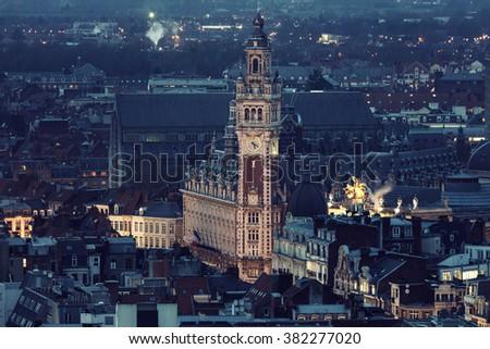 Aerial view of Lille. Lille, Nord-Pas-de-Calais, France - stock photo