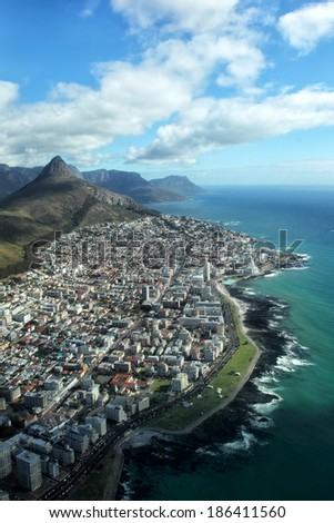 Aerial view of Lion's Head and Seapoint, a suburb of Cape Town, South Africa. - stock photo