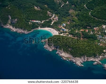 Aerial view of Lipiades in Corfu island  Greece - stock photo