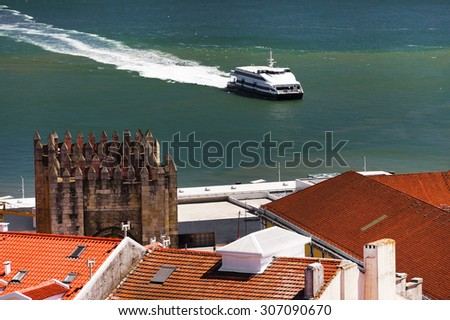 Aerial view of Lisbon from Sao Jorge Castle, Portugal, Europe - stock photo