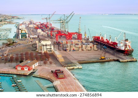 Aerial view of Lisbon Industrial Port. Portugal - stock photo