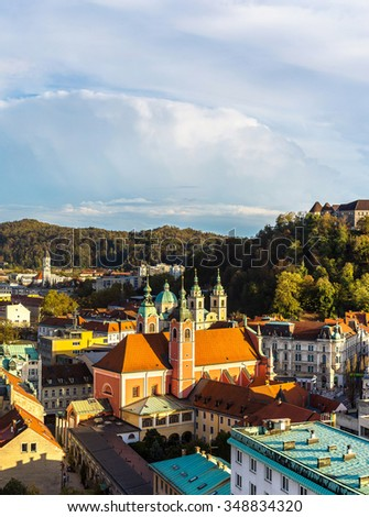 Aerial view of Ljubljana's castle at sunset in Slovenia