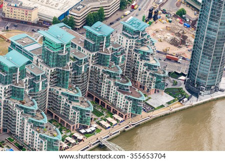 Aerial view of London along river Thames.
