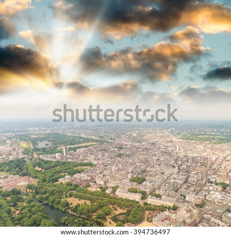 Aerial view of London. Cityscape at sunset.