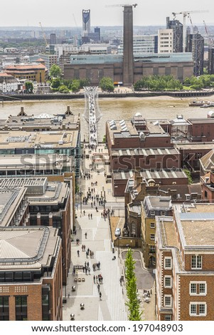 Aerial View of London from viewing platform of St Paul Cathedral, London, UK