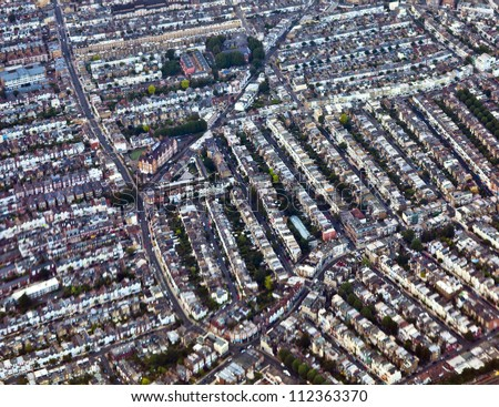 Aerial view of London streets in daytime - stock photo
