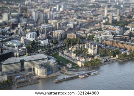 Aerial view of London with with tilt shift effect filter - stock photo