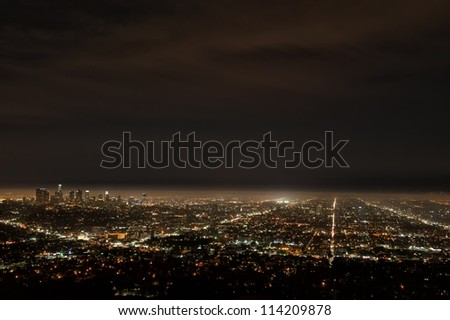Aerial view of Los Angeles by night from Griffith Observatory - stock photo