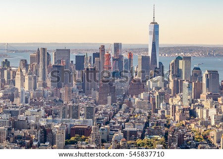 Aerial view of Lower Manhattan at sunset.