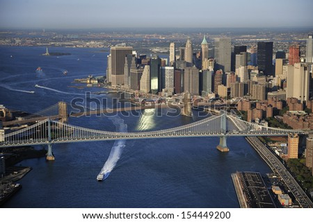 Aerial view of Lower Manhattan, Brooklyn Bridge, Manhattan Bridge, New York - stock photo