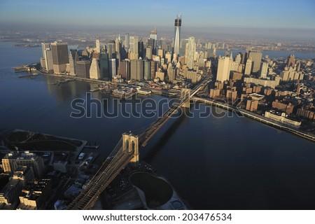 Aerial view of Lower Manhattan, Dumbo and Brooklyn Bridge, New York City, New York - stock photo