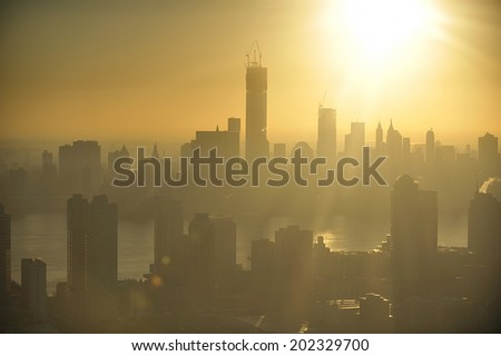 Aerial view of Lower Manhattan, New York and Jersey City, New Jersey - stock photo