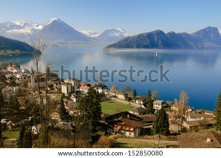 Aerial view of Lucerne lake in summer, Switzerland - stock photo