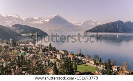 Aerial view of Lucerne lake in vintage style, Switzerland - stock photo
