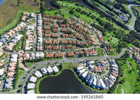 Aerial view of luxury australian neighborhood - stock photo