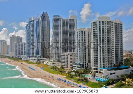 Aerial view of luxury hotels, Miami Beach, Florida, USA - stock photo