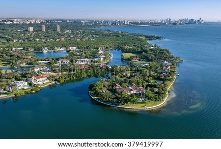 aerial view of luxury waterfront homes along south miami bay