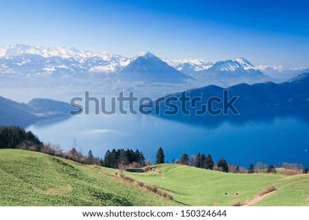 Aerial view of Luzern lake from mount.Rigi, Switzerland - stock photo