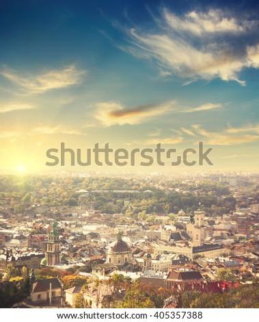 aerial view of Lviv, Ukraine,  at sunset. travel background - stock photo