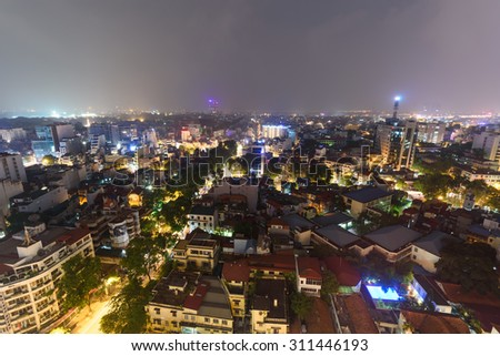 Aerial view of Ly Thuong Kiet street in Hai Ba Trung district at old quarter of Hanoi, Vietnam with dense of town house, skylines and apartment buildings. Hanoi is capital of Vietnam