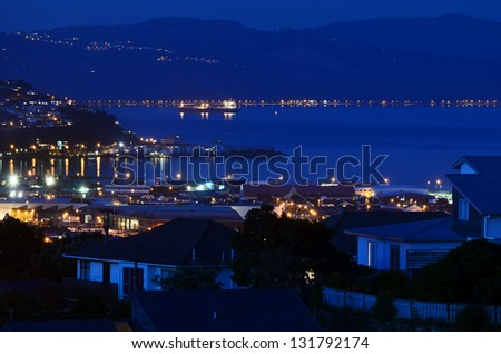 Aerial view of Lyall Bay at night in Wellington CBD. North Island, New Zealand. - stock photo