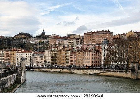 Aerial view of Lyon in autumn with River and Bridge, France