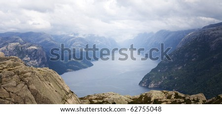 aerial view of Lysefjord, Norway - stock photo