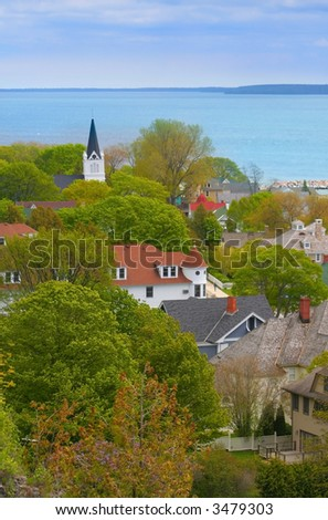 Aerial view of mackinac island during spring time - stock photo