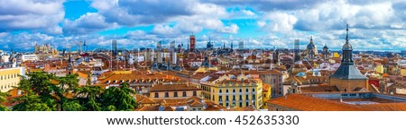 aerial view of madrid taken from the top of the almudena cathedral in madrid - stock photo