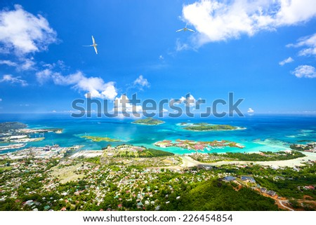 Aerial view of Mahe coastline, Seychelles - stock photo
