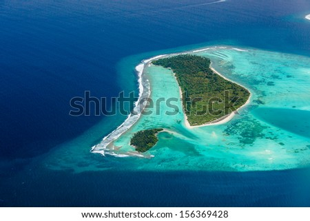 Aerial view of Maldives islands - stock photo