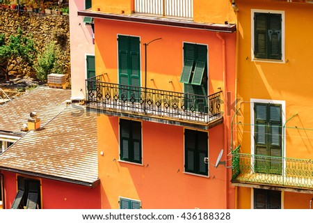 Aerial view of Manarola (Manaea), a small town in province of La Spezia, Liguria, Italy. It's one of the lands of Cinque Terre, UNESCO World Heritage Site - stock photo