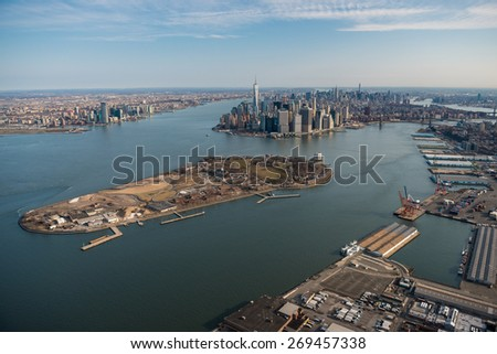Aerial view of Manhattan and Governor's island, New York - stock photo