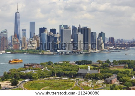 Aerial view of  Manhattan and Governors Island, New York City, U.S.A.  - stock photo