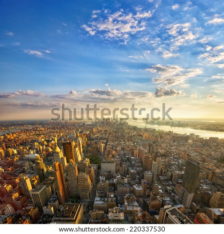Aerial view of Manhattan at sunset, New York City - stock photo