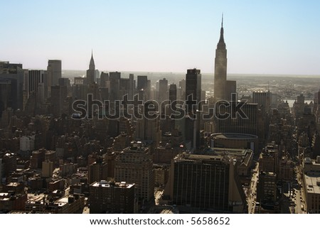 Aerial view of Manhattan city skyline, New York City.
