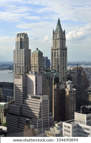Aerial view of Manhattan from Wall street building rooftop, New York City. USA. - stock photo