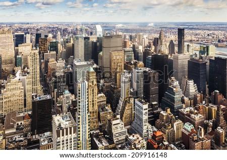 Aerial view of Manhattan, New York City. - stock photo